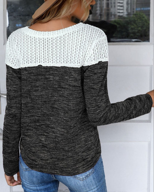 Knit Colorblock Casual Sweater
