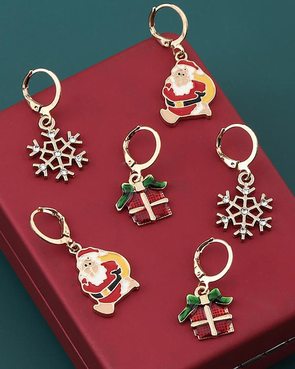 3pairs Christmas Pattern Drop Earring Set