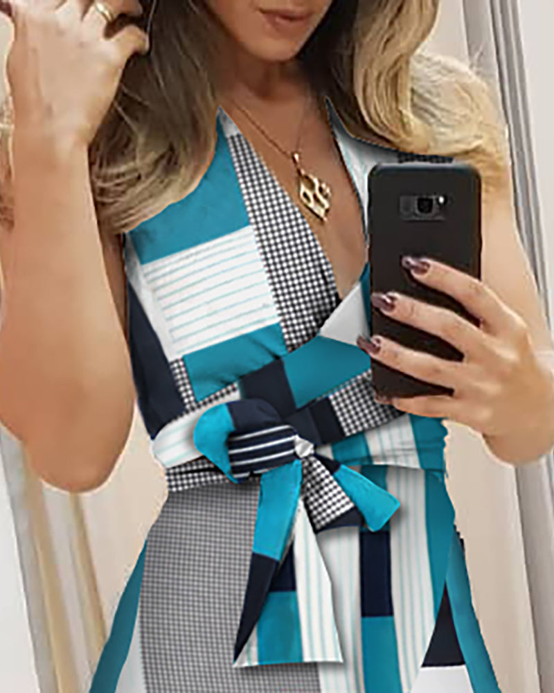 V-neck Colorblock Knotted Irregular Dress