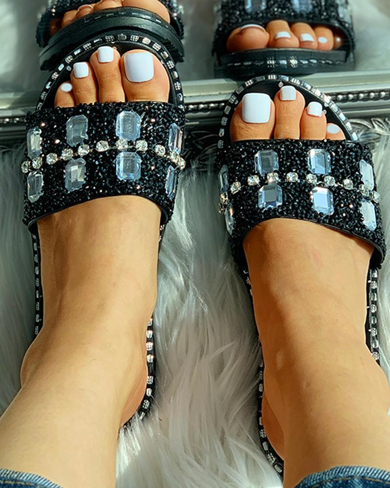 Studded Open Toed Flat Sandals