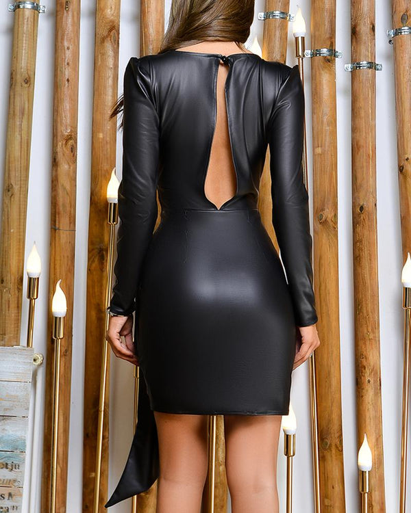 Solid PU Cut Out Backless Ruched Bodycon Dress
