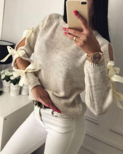 Crew Neck Tie-Up Sleeve Sweater