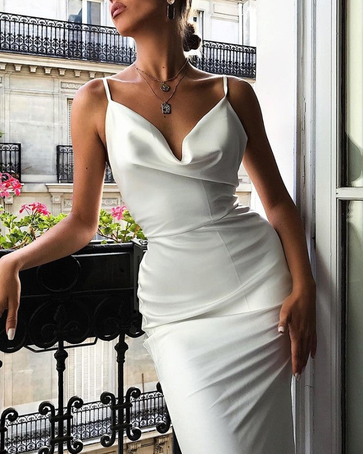 Spaghetti Strap Cowl Neck Ruched Bodycon Dress