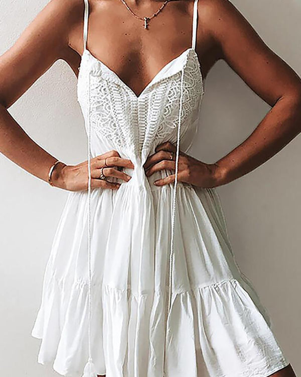 Crochet Lace Insert Spahgetti Strap Dress