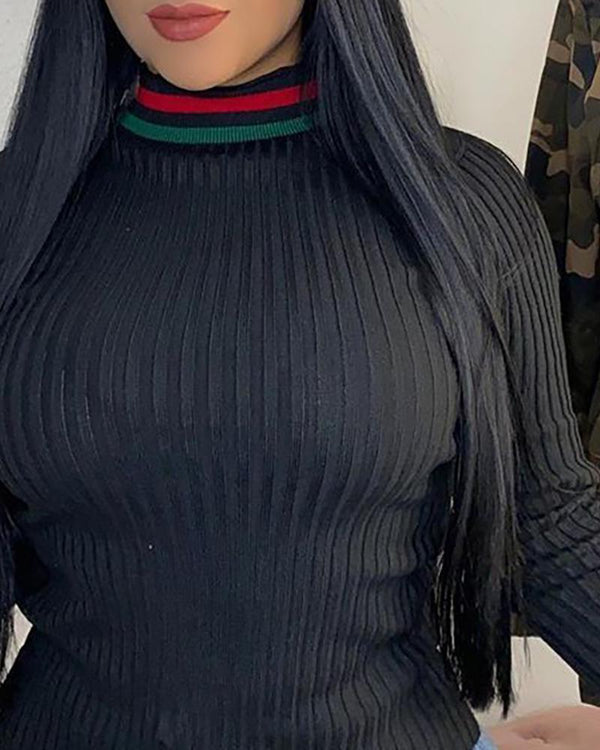 Ribbed High Neck Long Sleeve Sweater