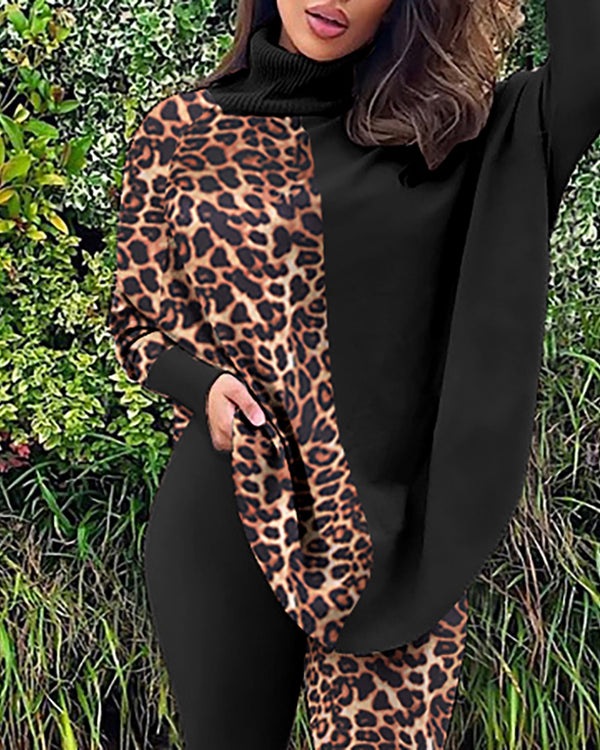 Leopard Print Batwing Sleeve Top & Skinny Pants Set