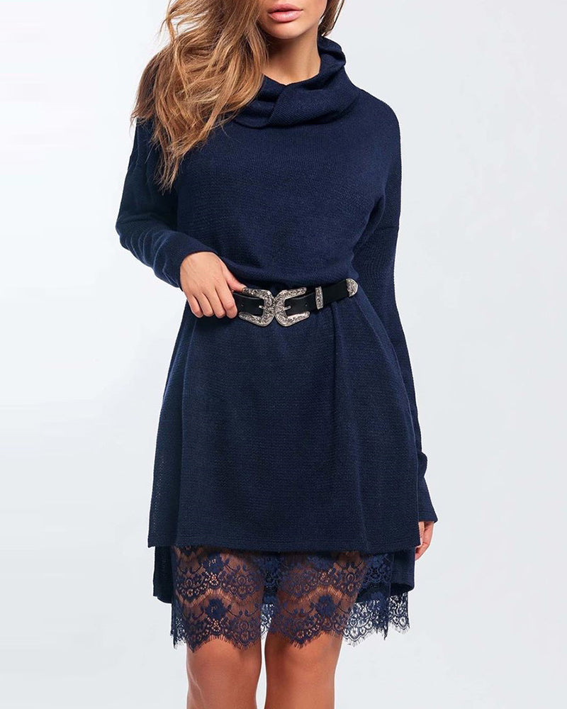 Mock Neck Long Sleeve Eyelash Lace Insert Dress