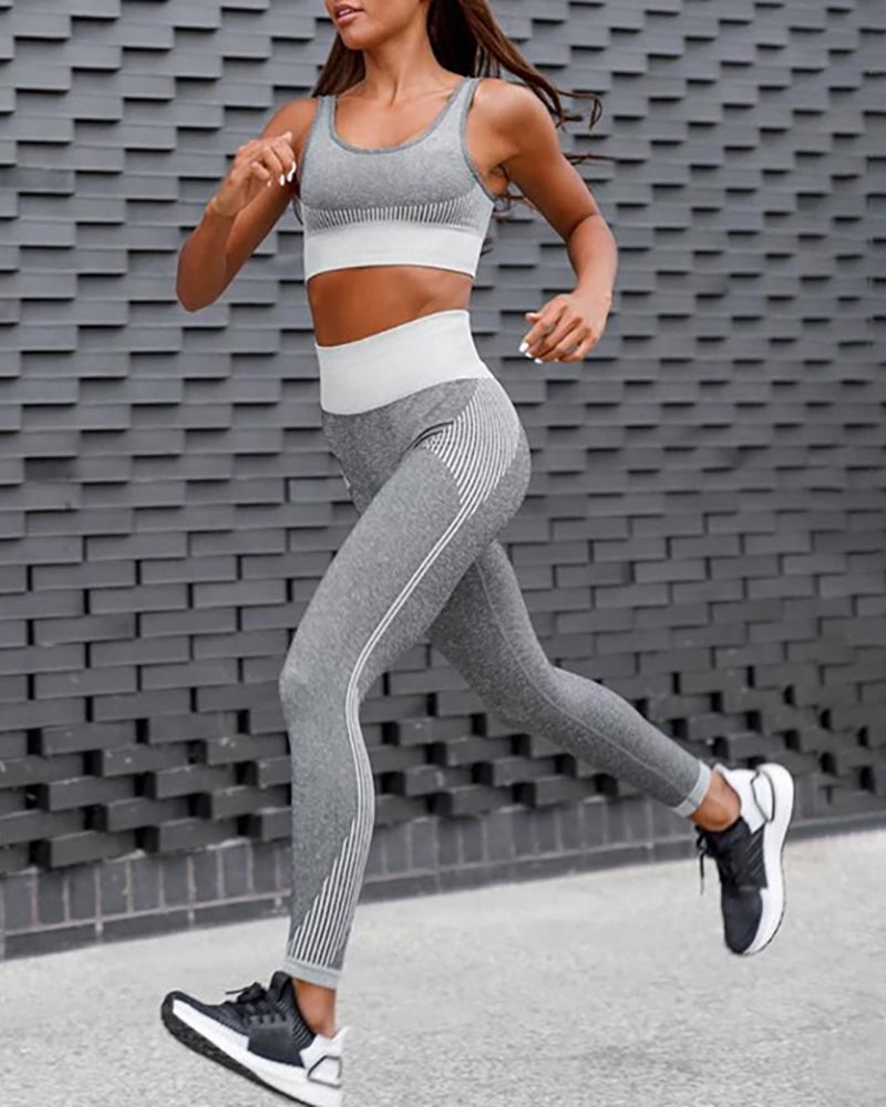 Colorblock Thick Strap Sporty Top & Pant Set