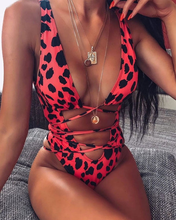 Leopard Cut Out Swimsuit