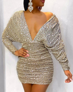 Ruched V-Neck Backless Bodycon Sequin Dress