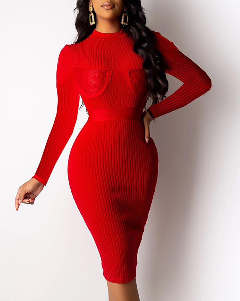 Solid Ribbed Long Sleeve Lace Insert Bodycon Dress