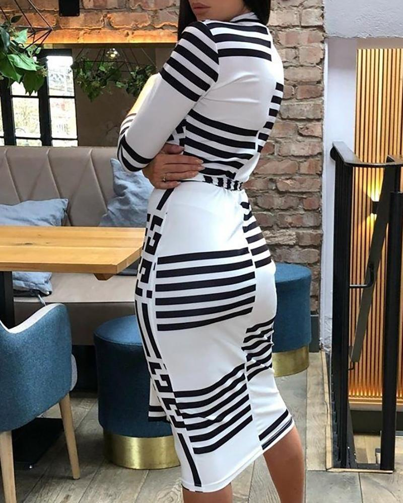 Striped Colorblock Insert Bodycon Dress