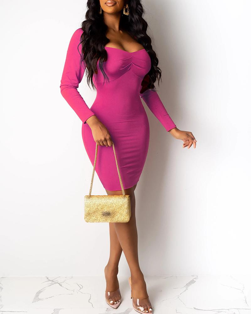 Solid Sweetheart Neck Ruched Bodycon Dress