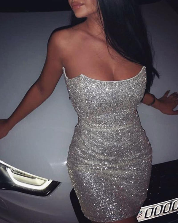 Off Shoulder Sequined Mini Dress