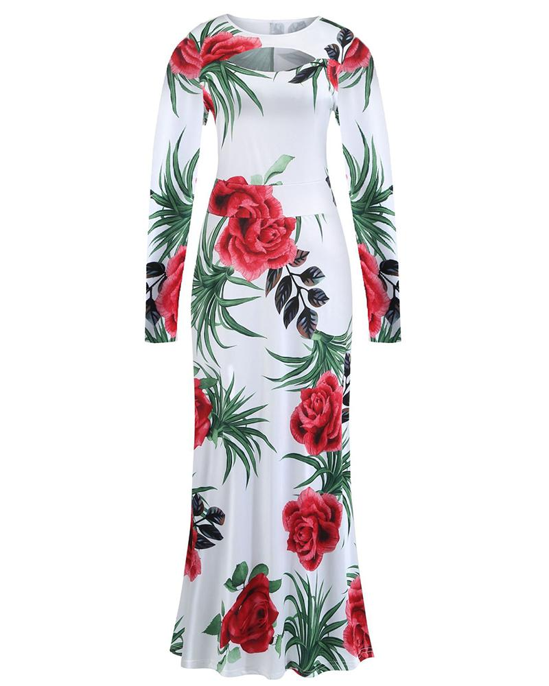 Long Sleeve Floral Printed Dress