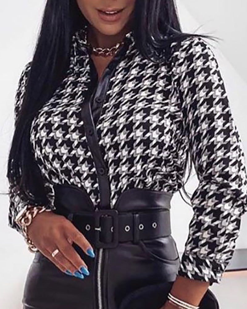 Houndstooth Print Long Sleeve Shirt