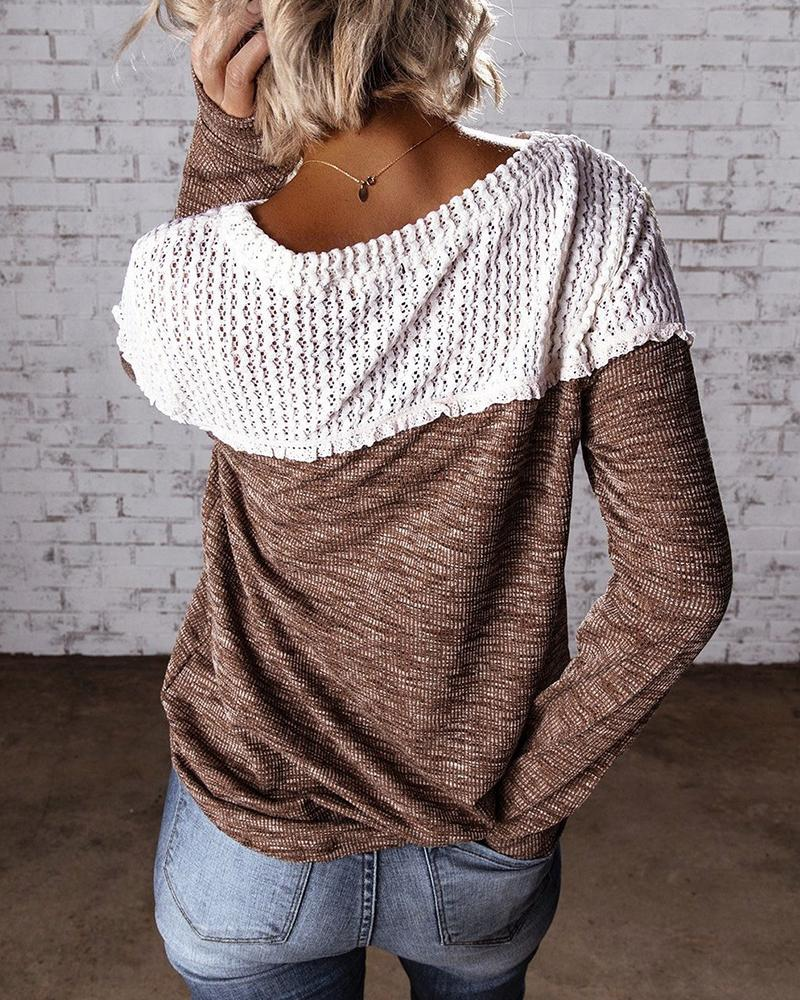 Colorblock Eyelet Hollow Out Casual Sweater