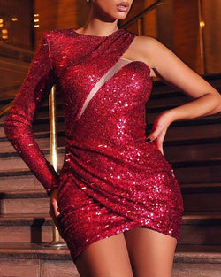 One Shoulder Cut Out Ruched Sequins Dress