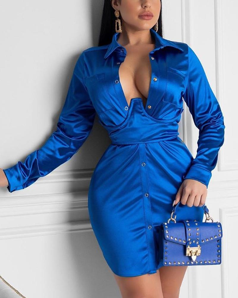 Deep V Bodycon Plunge Shirt Dress