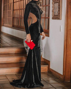 Black Open Back Evening Maxi Dress