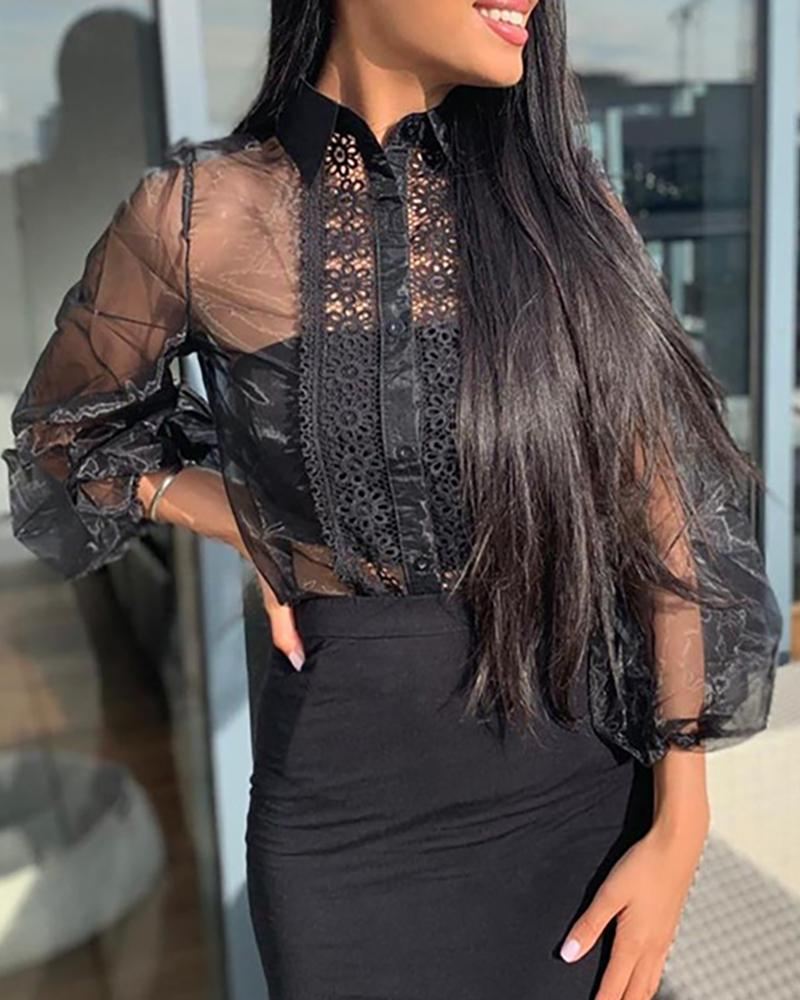 Turn-down Collar Lantern Sleeve Sheer Mesh Crochet Lace Shirt
