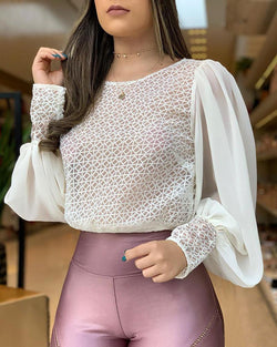 Popper Cuff Mesh Ruched Sleeve Blouse