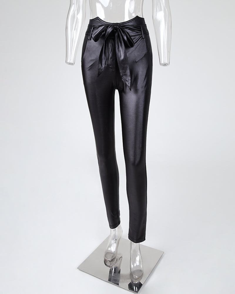 Paperbag Waist Faux Leather Pants