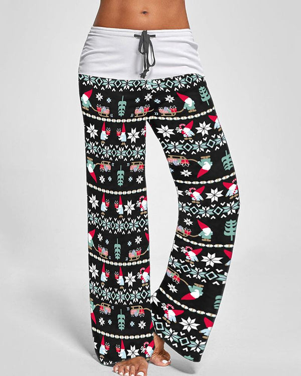 Christmas Print Drawstring Wide Leg Pants