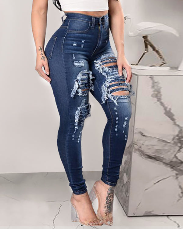 Cutout Ripped High Waist Denim Pants