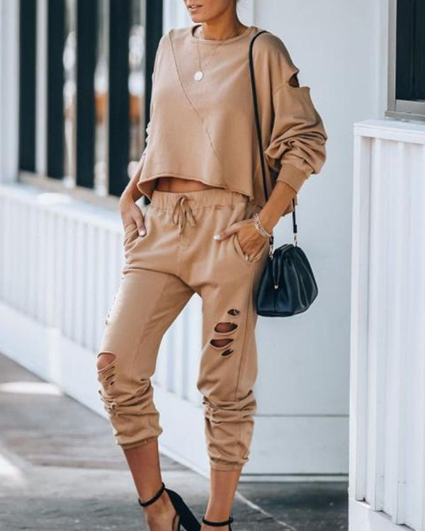 Solid Color Ripped Long Sleeve Pant Sets