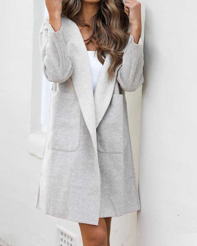Hooded Open Front Pocketed Coat