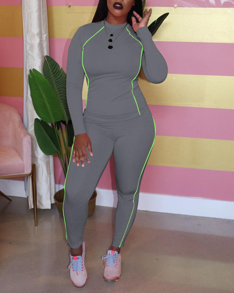 Solid Striped Long Sleeve Top & Pant Sets
