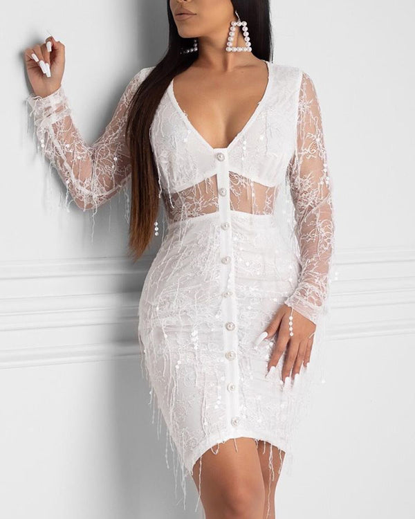 Plunge Neck Mesh Mini Dress