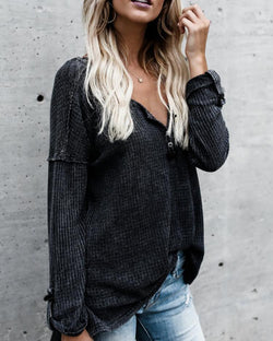 Fashion V Neck Roll Sleeve Casual Top