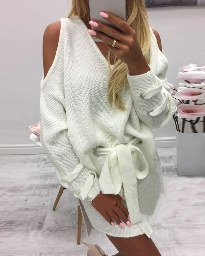Solid Long Sleeve Cold Shoulder Shirt Dress