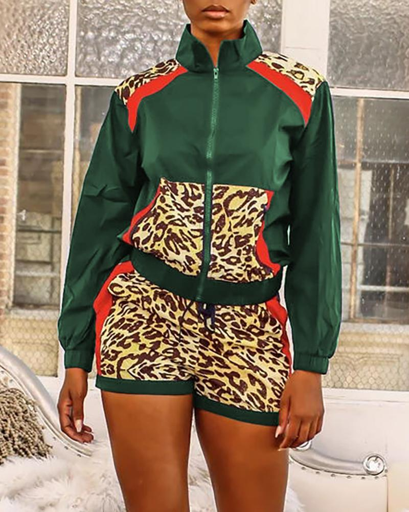 Colorblock Leopard Print Zipper Sporty Top & Shorts Sets