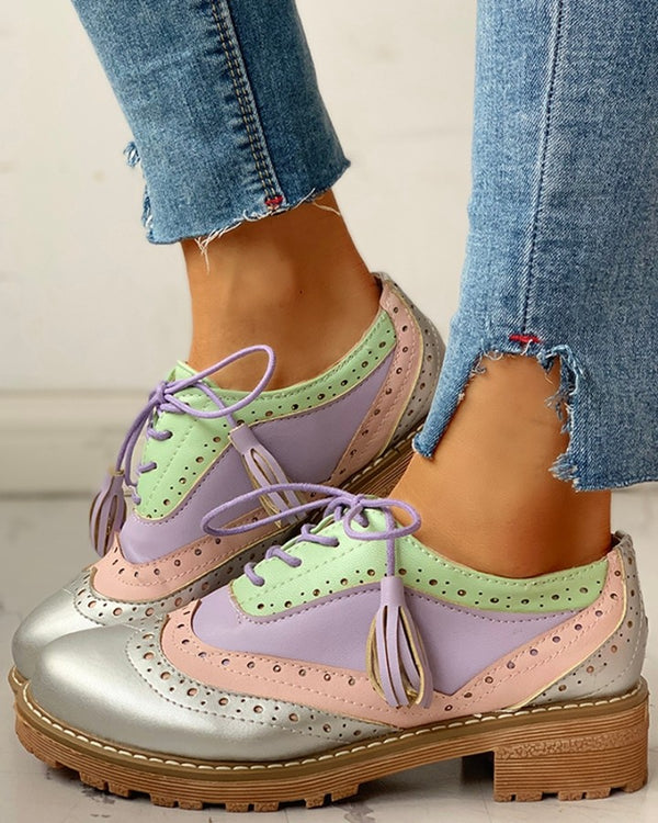 Lace-Up Sequins Insert Flat Shoes
