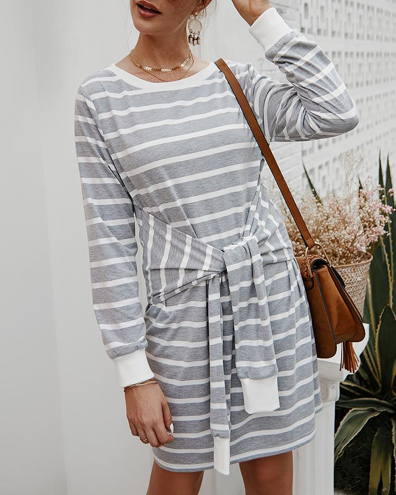 Striped Colorblock Long Sleeve Knotted Casual Dress