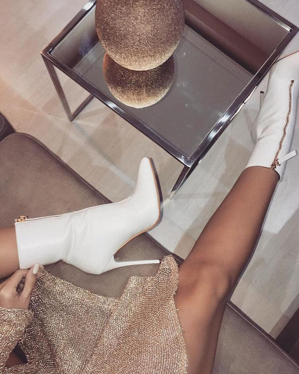 Front Zipper Thin Heeled Boots