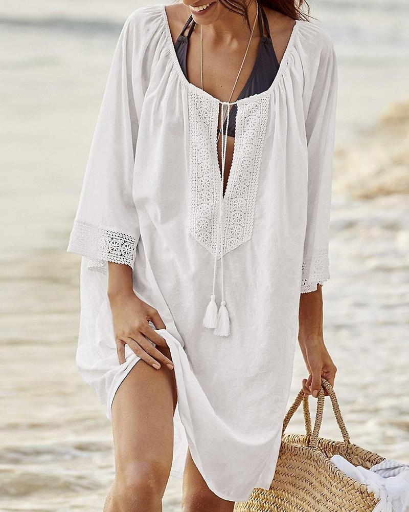 Notched Neck Beach Cover-Up