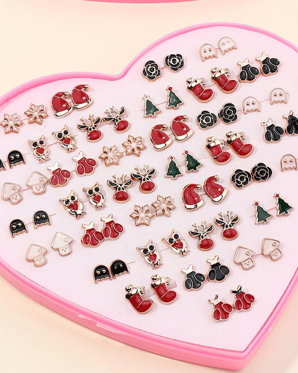 36pairs Christmas Pattern Earring Set
