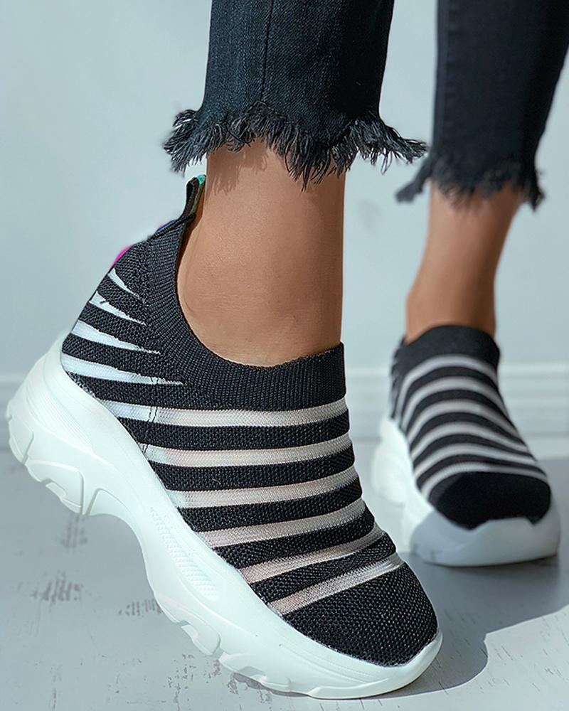 Knit Colorblock Casual Sneaker