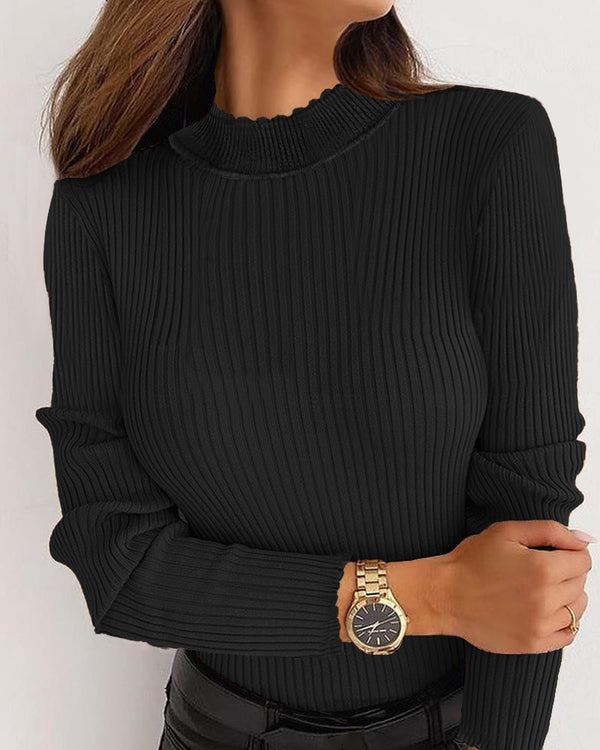 Frill Hem Long Sleeve Knit Top