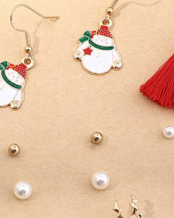 6pairs Christmas Pattern Beaded Tassel Earring Set