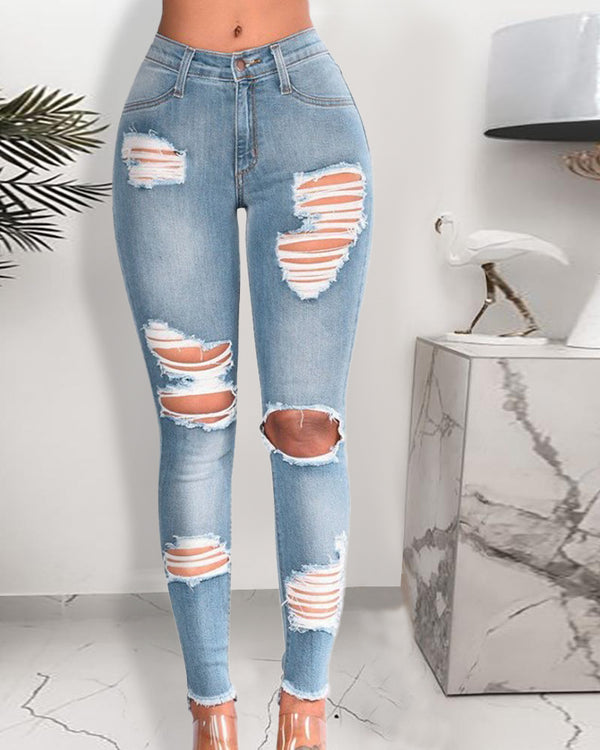 Ripped Cutout Fringe Hem Denim Pants
