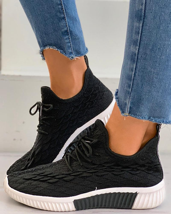 Knit Lace-up Casual Sneaker