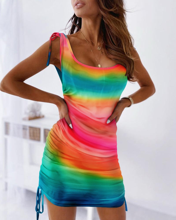 Tie Dye Print Colorblock Tied Detail Ruched Bodycon Dress