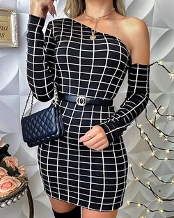 One Shoulder Grid Print Bodycon Dress