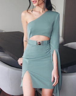 Solid One Shoulder Crop Top & Slit Skirt Sets