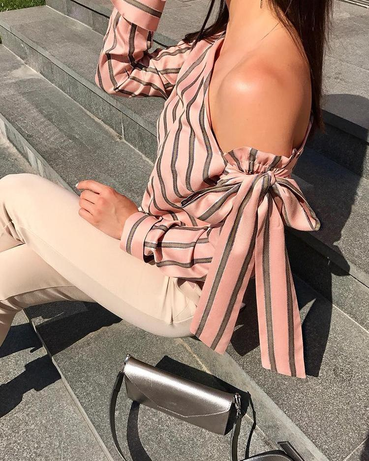 Stripes Skew Neck Knotted Sleeve Blouse